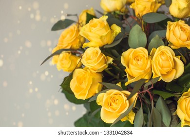 Beautiful bouquet of yellow roses flowers.
