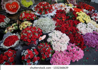 Beautiful Bouquets Of Flowers On The Market In The Ho Chi Minh City, Vietnam.