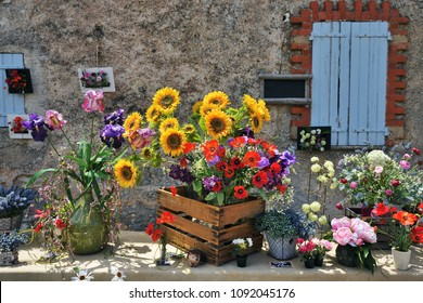 Beautiful bouquets of flowers for sale on the street of the small village Ferrassieres, Provence, France