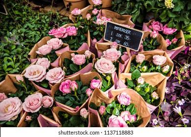 Beautiful bouquets of pink roses on the flower market in Copenhagen, Denmark