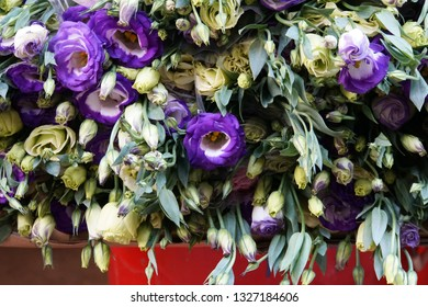 Beautiful Bouquets Of Violet And White Flowers On The Market In The Ho Chi Minh City, Vietnam.