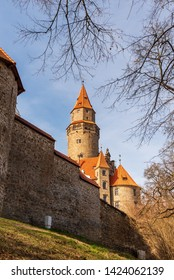 beautiful Bouzov castle with wall in Czech republic during nice springtime day