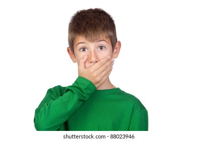 Beautiful boy covering his mouth isolated on a over white background