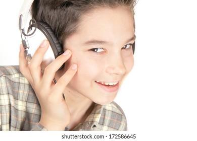 Beautiful boy with headphones