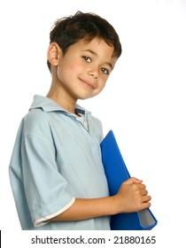 Beautiful boy holding a blue folder
