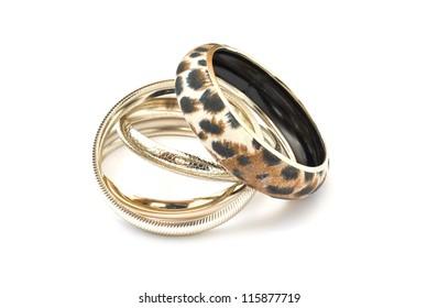 Beautiful bracelets isolated on white background
