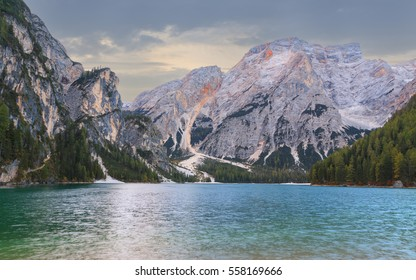 Beautiful Braies lake in the background of Seekofel mountain in Dolomites,Italy ( Pragser Wildsee )