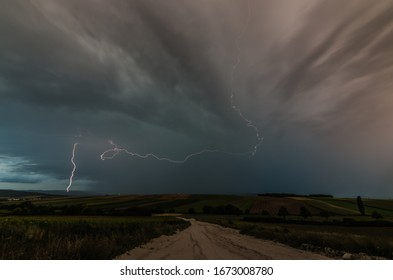 beautiful branched lightning in the landscape during thunderstorms