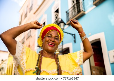 "Beautiful Brazilian woman ""Baiana"" with local costume in Pelourinho, Salvador, Bahia"