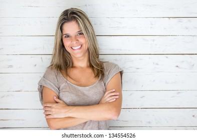 Beautiful Brazilian woman smiling looking very happy