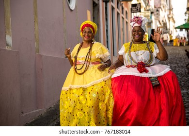 "Beautiful Brazilian women ""Baiana"" with local costume in Pelourinho, Salvador, Bahia"
