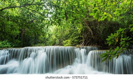 Beautiful and Breathtaking green waterfall, Huay Mea Kamin's waterfall, Located Kanchanaburi Province, Thailand