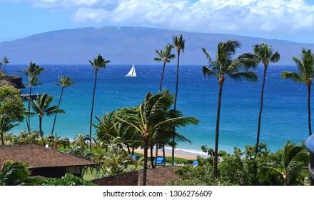 Beautiful breathtaking view of Kaanapali Beach in Maui Hawaii Island towards Molokai