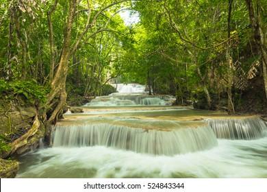 Beautiful and Breathtaking waterfall, Huay Mea Kamin's waterfall, Located Kanchanaburi Province, Thailand