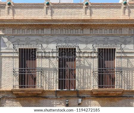 Beautiful Brick Facade Decoration Balconies Window Stock Photo (Edit ...