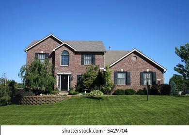 beautiful brick two-story house