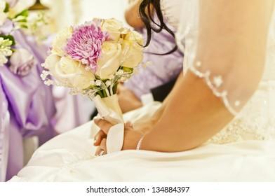 Beautiful Bridal Bouquet At Wedding Ceremony
