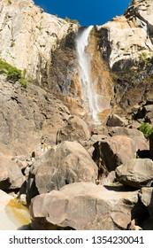 Beautiful Bridalveil falls is located on Merced river. Yosemite National Park, California, USA