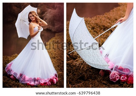 199a9f1234dc Beautiful bride with blond hair in a white dress with an umbrella decorated  with red and