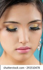 beautiful bride with blue makeup