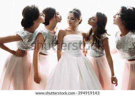 Beautiful Bride Bridesmaids Posing Near Window Stock Photo Edit Now