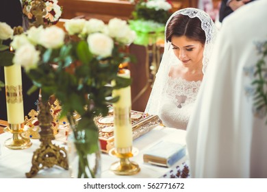 beautiful bride in church