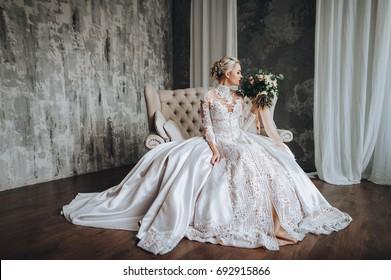 Beautiful Bride Cream Wedding Dress Wedding Stock Photo Edit Now