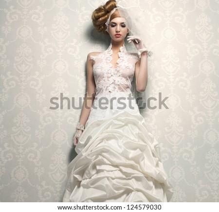 Beautiful Bride Elegant White Wedding Dress Stock Photo (Edit Now ...