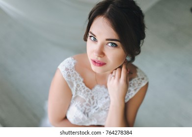 Beautiful bride. Face close up. View from above. Wedding concept.
