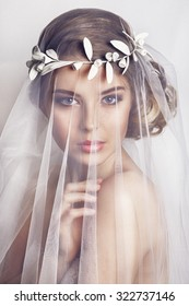 Beautiful bride with fashion wedding hairstyle - on white background.Closeup portrait of young gorgeous bride. Wedding. Studio shot.Beautiful bride portrait with veil over her face