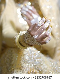 Beautiful Bride Hands with Henna Tattoo, Indonesian Wedding Tradition Ceremony