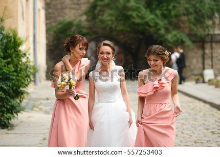 4209599c6e Beautiful Bride Her Bridesmaids Walking Together Stock Photo (Edit ...