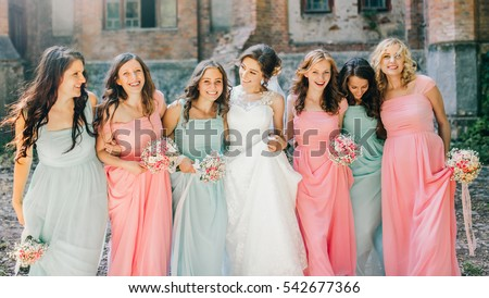 ebc3ed4f20 Beautiful Bride Her Pretty Bridesmaids Stock Photo (Edit Now ...