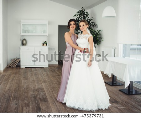ad74a32062 Beautiful Bride Her Wonderful Bridesmaid Stock Photo (Edit Now ...