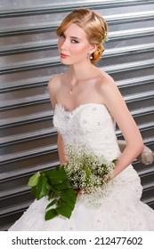 Beautiful Bride holding flowers