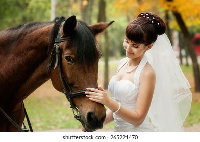 Beautiful bride and a horse in the park