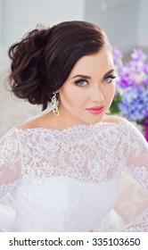 Beautiful bride in lace dress