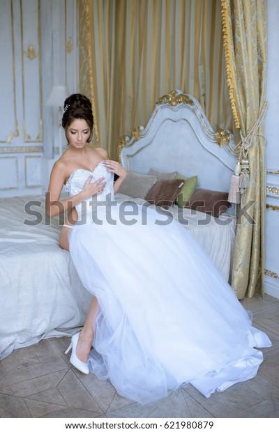 Beautiful Bride Lingerie Wearing Wedding Dress Royalty Free