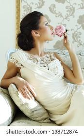 Beautiful bride luxury interior, vintage glamour style
