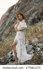 Beautiful bride in nature in boho style. Wedding in the European style of fineart at sunset.