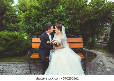 beautiful bride on the bench