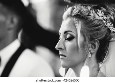 Beautiful bride on the ceremony in the church