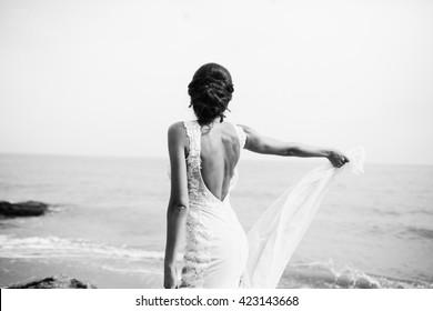 Beautiful bride on the seaside