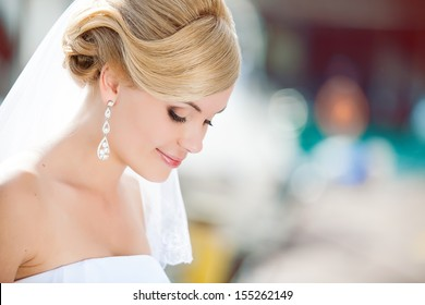 Beautiful bride outdoors - soft focus