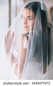 Beautiful bride portrait with veil over her face.Closeup portrait of young gorgeous bride. Wedding.