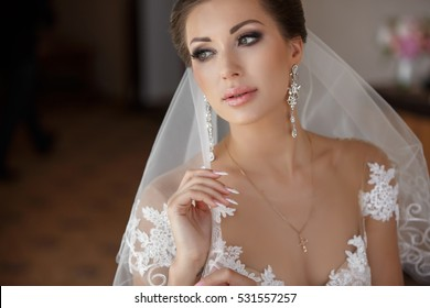 Beautiful Bride Portrait wedding makeup and hairstyle, girl in diamonds tiara and marriage flowers bouquet, fashion bride gorgeous beauty, smiling happy bride portrait, series
