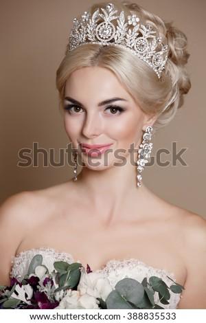 beautiful bride portrait wedding makeup hairstyle stock