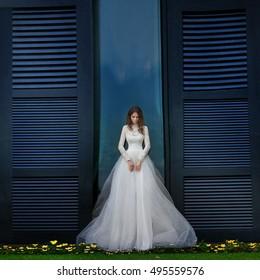 Beautiful bride posing outside