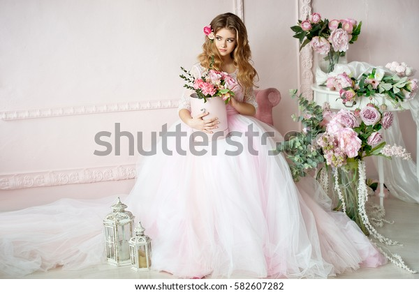 Beautiful bride. Pretty girl with flowers. Birthday