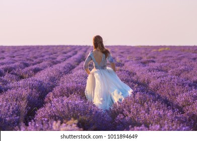 beautiful bride running through the lavender field at sunset, view from the back